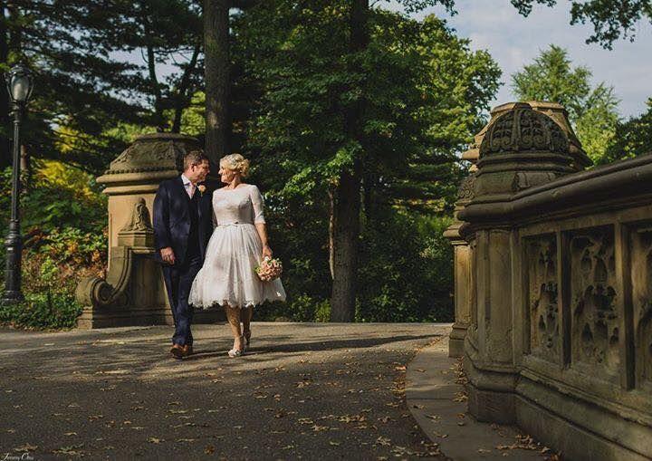 Fab tea-length House of Mooshki wedding dress Primrose worn by our Real Bride Jenny in New York