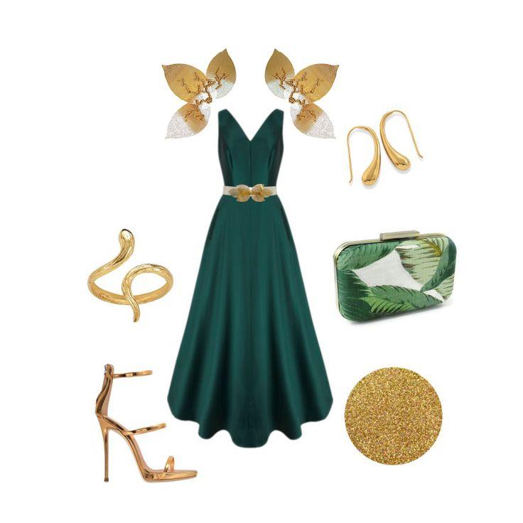 Invitada. Hombreras MissPerla con vestido verde inglés.