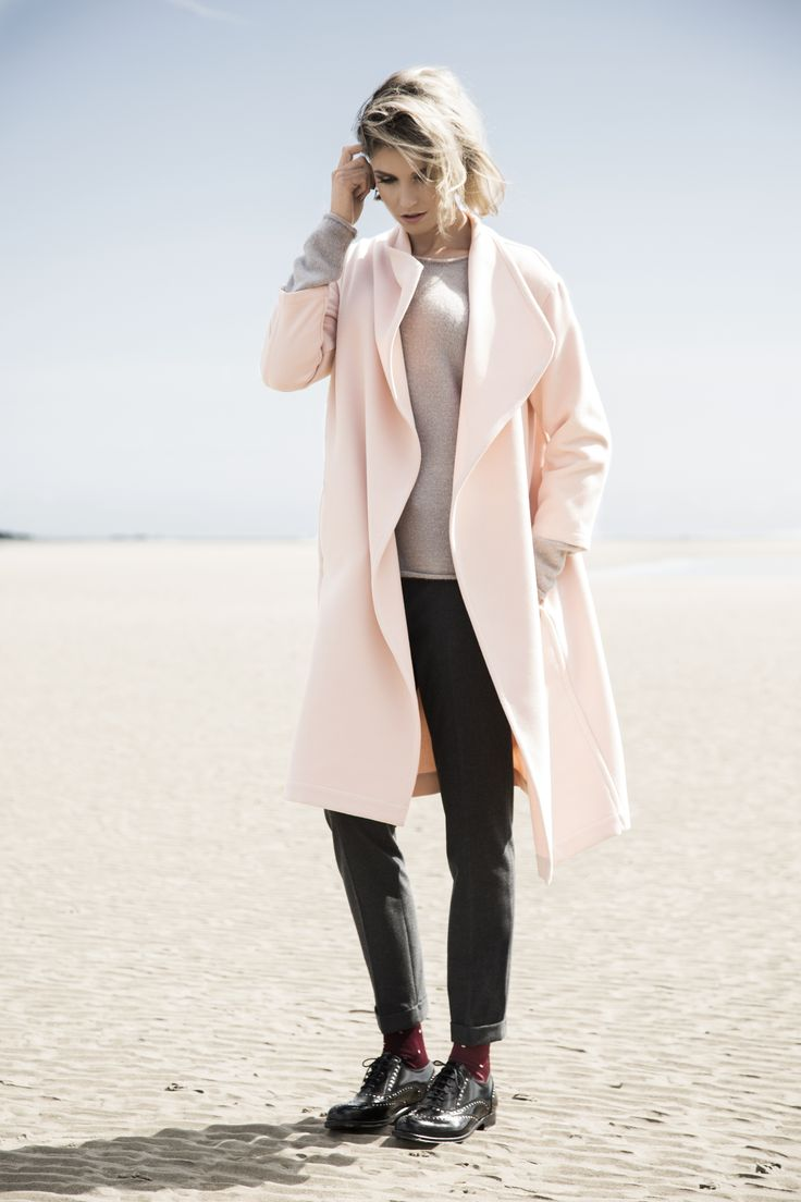 Pink throw-on coat, tailored trousers, studded brogues, all Carolyn Donnelly The Edit
