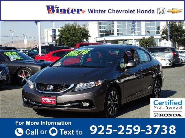 2013 *Honda*  *Civic* *sedan* *EX-L* $18,371  miles 925-259-3738 Transmission: Automatic  #Honda #Civic Sdn #used #cars #WinterChevroletHonda #Pittsburg #CA #tapcars