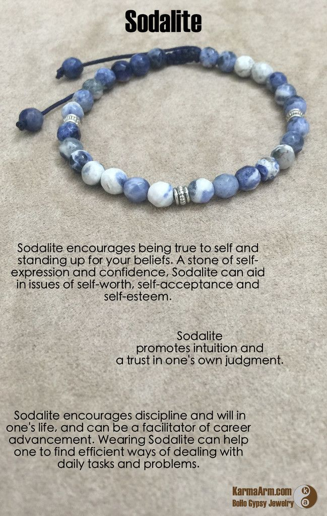 Sodalite encourages being true to self and standing up for your beliefs. A stone of self-expression and confidence, Sodalite can aid in issues of self-worth, self-acceptance and self-esteem.  Sodalite promotes intuition and a trust in one's own judgment.  Sodalite encourages discipline and will in one's life, and can be a facilitator of career advancement. Wearing Sodalite can help one to find efficient ways of dealing with daily tasks and problems.  CONFIDENCE: Sodalite Yoga Mala Bead…