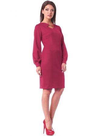 Малиновое платье из костюмной ткани
