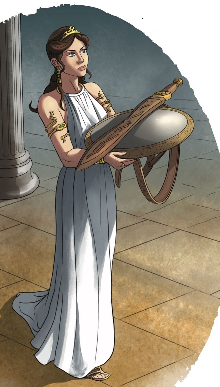 The goddess Athena gives Perseus his shield and sword in Storytime Issue 1's Greek myth. Illustration by Phill Hosking (http://www.phillhosking.co.uk) ~ STORYTIMEMAGAZINE.COM