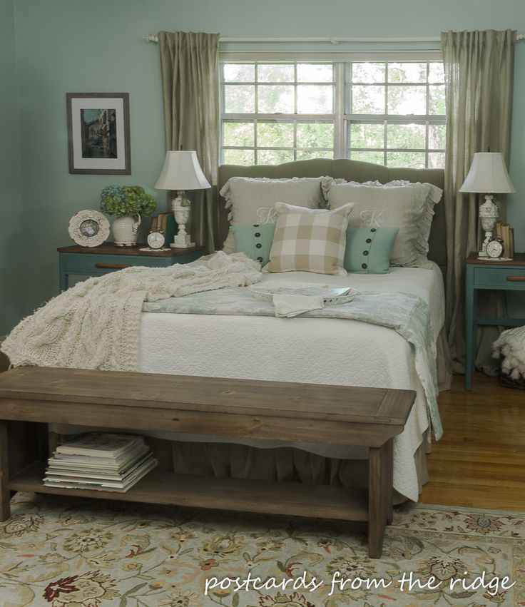 That bench! Great ideas on this site for adding farmnhouse charm to any bedroom. Postcards from the Ridge