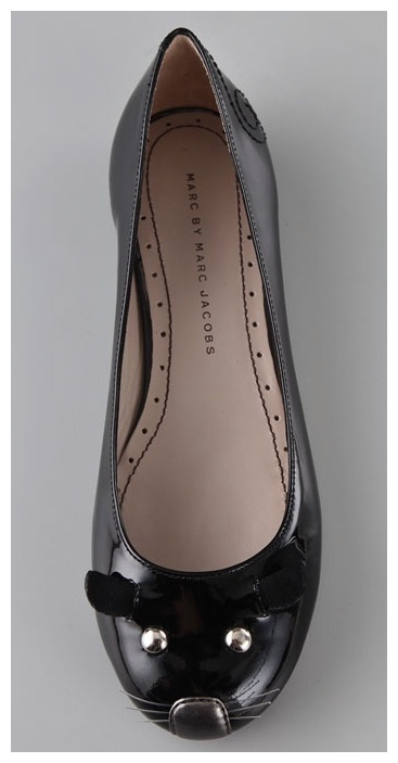 Marc Jacobs flats, but I see DIY! Glue felt ears to simple ballet flats, add beads or the heads of thumbtacks as eyes, a piece of silver duct tape as the nose and some thinthinthin wire as wiskers?