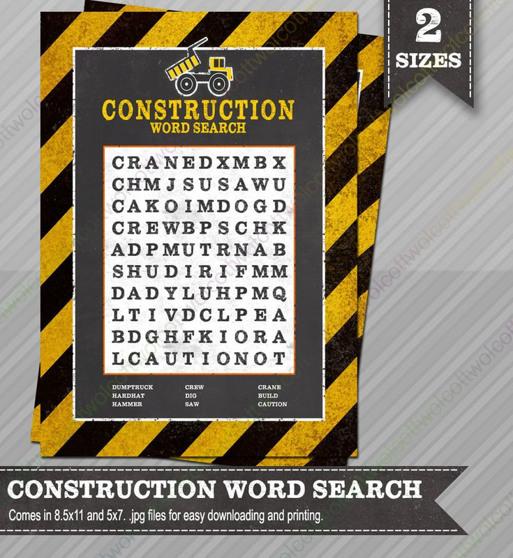 Construction Word Search - Construction party - Construction party supplies - Party Games - Construction party games - Word Search Game by WolcottDesigns on Etsy