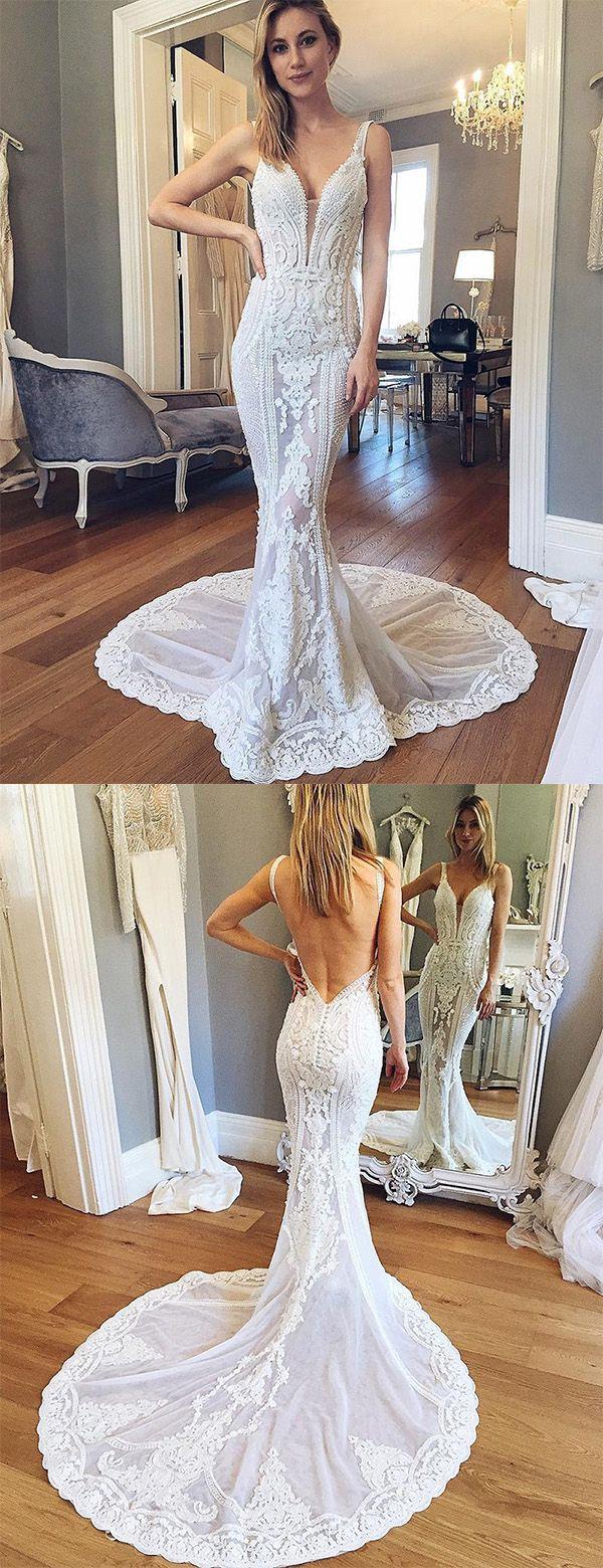 straps wedding dresses, lace wedding dresses, backless wedding dresses, white wedding dresses, white bridal dresses, mermaid wedding dresses, deep v neck wedding dresses, plunging dresses