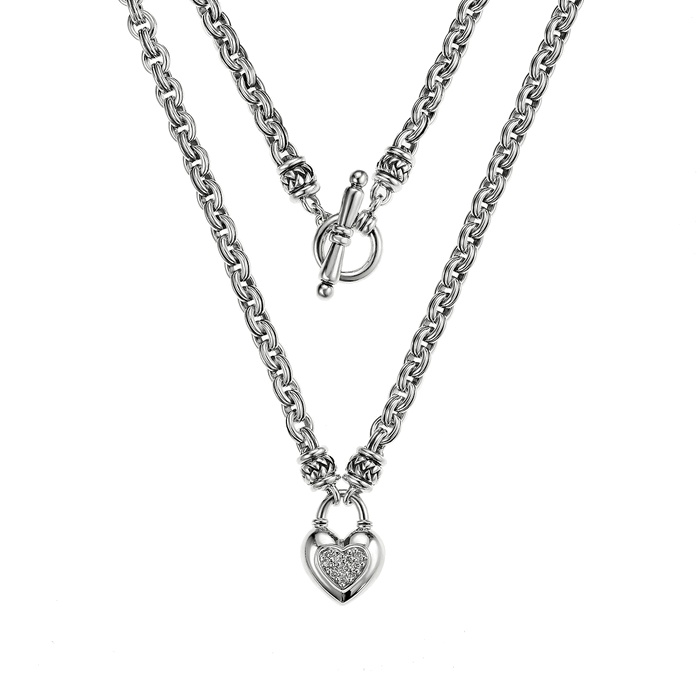 Scott Kay Sterling Silver Diamond Heart Chain Necklace N1062SPAD18 $541.27
