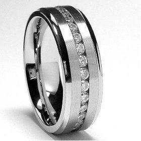7MM Men`s Eternity Titanium Ring Wedding Band with CZ sizes 7 to 12 celinetpearle
