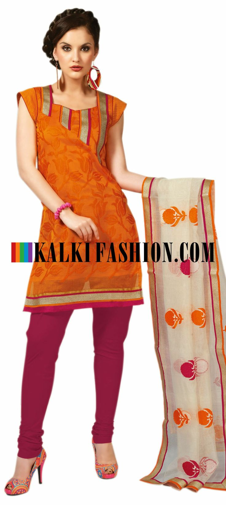 Buy Online from the link below. We ship worldwide (Free Shipping over US$100) http://www.kalkifashion.com/orange-unstitched-suit-with-resham-embroidery.html Orange unstitched suit with resham embroidery