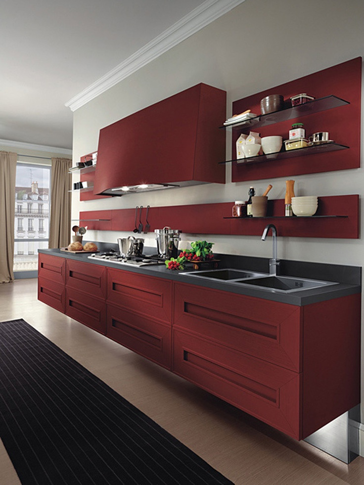 Modern burgundy red kitchen radiant red pinterest for Burgundy kitchen cabinets pictures