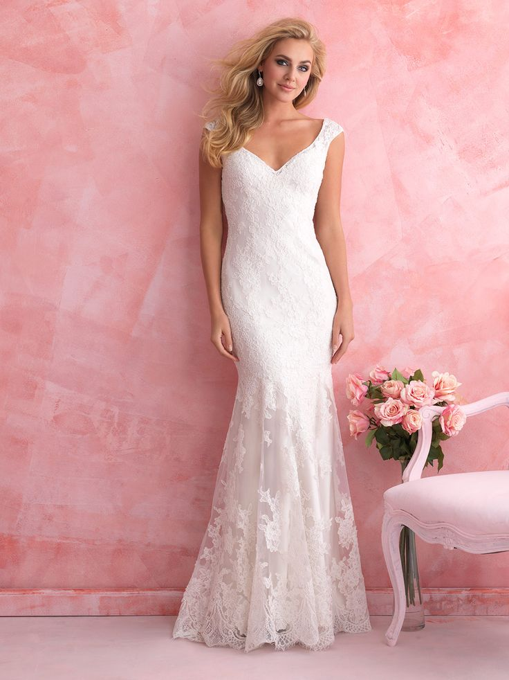 Awesome Ivory Beaded Chantilly Lace over Rum Pink Silk Duchess Satin soft fluted bridal gown Sweetheart neckline with spaghetti straps Rum Pink Silk Duchess Satin