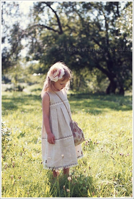 Long linen girl dress  sizes 05  5 year by lefthandedcraftclub, $45.99