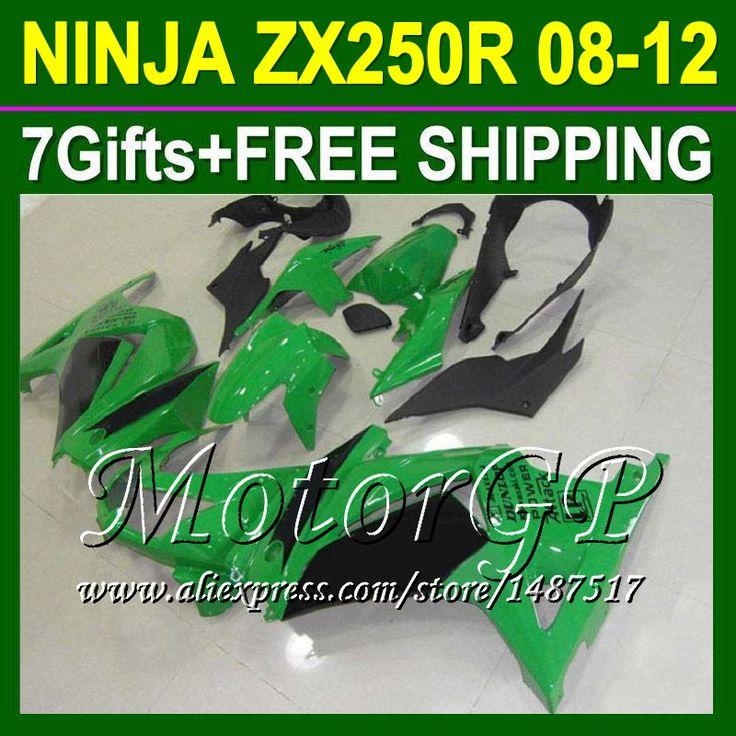Купить товар7 подарки для Kawasaki ниндзя 250r 08 09 10 11 зеленый черный 12 ZX250 ZX 250 16 # 169 2008 2009 2010 ZX250R зеленый зализа в категории Щитки и художественная формовкана AliExpress.