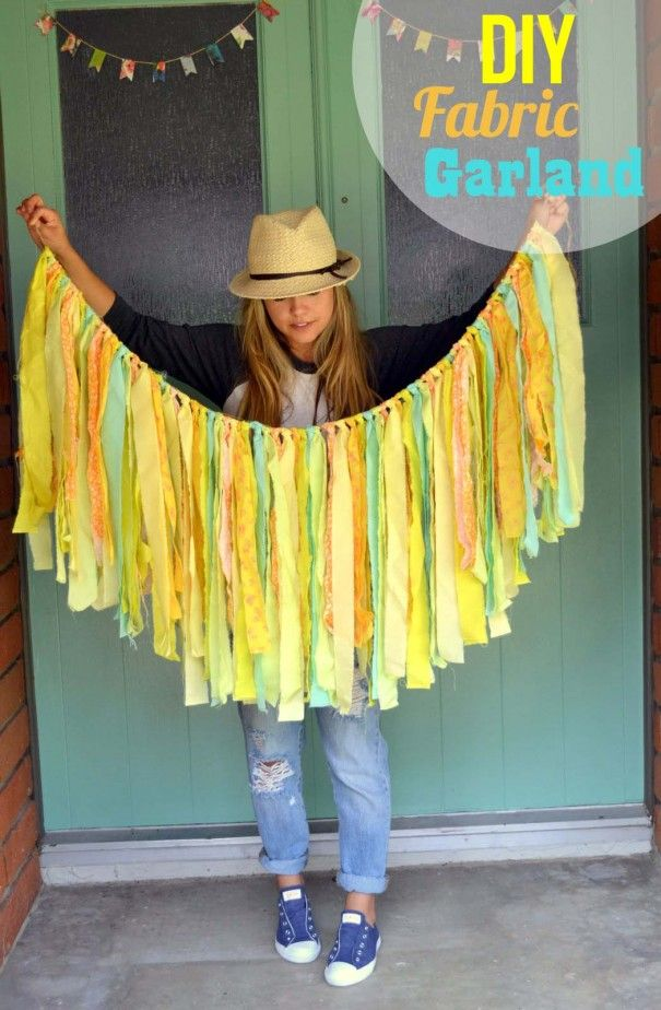 DIY Fabric Garland. Super easy tutorial for creating fabric strip garlands. perfect for home decor, baby showers, etc.