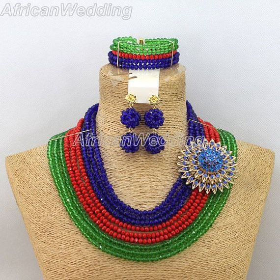 9-Row Unique African Nigerian Wedding Crystal Beads Necklace Set,Nigerian African Costume Beaded Jewelry Set,Beaded Necklace