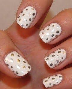 White polish with silver sharpie polka dots #ManicureMonday
