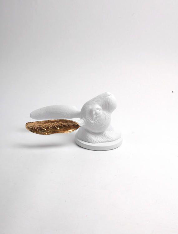 La Bertruce en blanco oro escultura de conejo conejo Lop