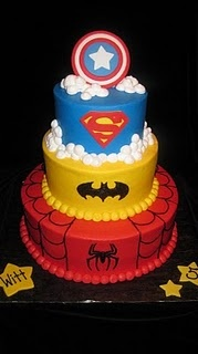super hero cake- Logo ideas on a sheet cake- Divide the cake into 4 with diagonal lines and put logos of Superman, Batman, Captain American and Green Lantern on each of their colors