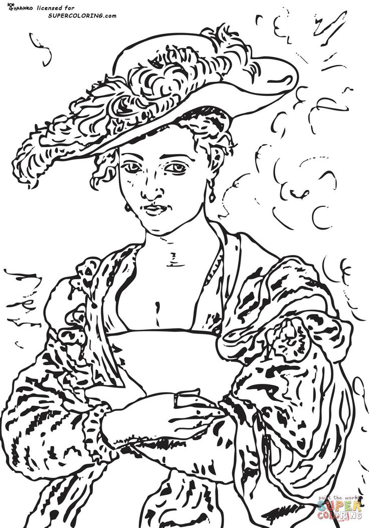 the straw hat by peter rubens coloring page coloringpage coloring printable historical