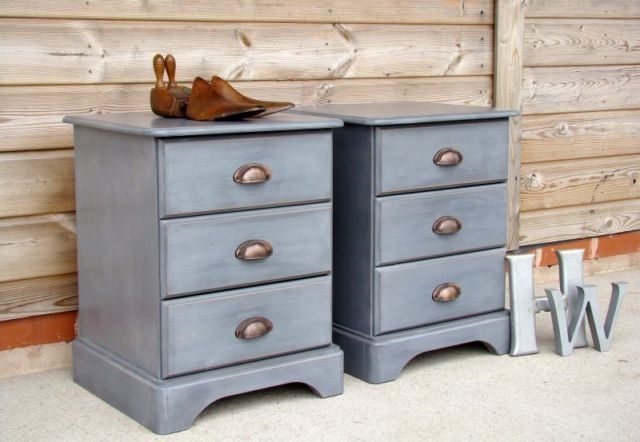 A PAIR of LOVELY COUNTRY PINE BEDSIDE DRAWERS ~ PAINTED SHABBY CHIC   eBay