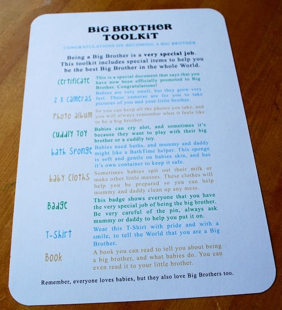Big Brother Tool Kit -- for sibling gifts (since most people I know are on baby 2+)