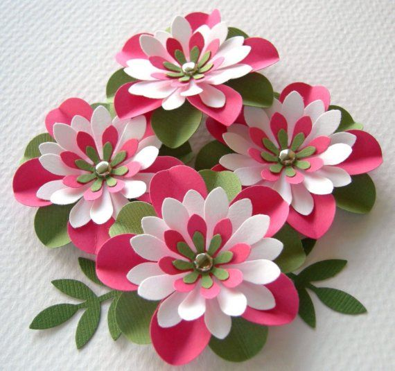 Paper Flowers Watermelon Round Creased With Brads