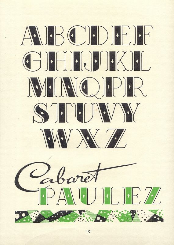 Cabaret Paulez, vintage decorative alphabet, Album de lettres Arti (1949)