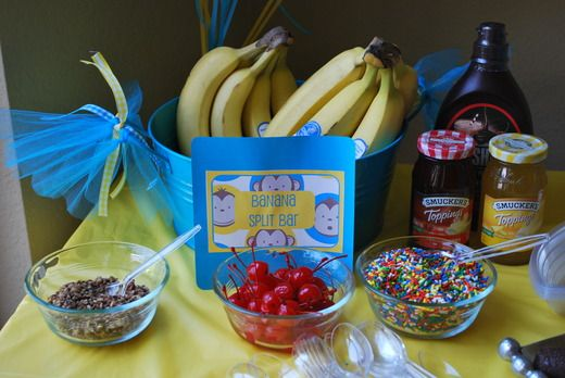 Banana split bar - monkey party