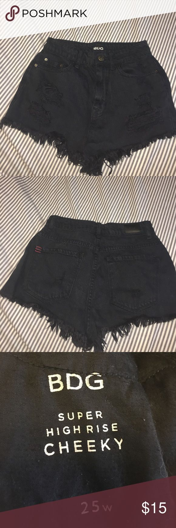 Black Festival shorts from UO Black distressed high rise cheeky shorts from Urban Outfitters (BDG). Size 25/0-2 women's. Worn less than a handful of times, perfect condition! Urban Outfitters Shorts Jean Shorts