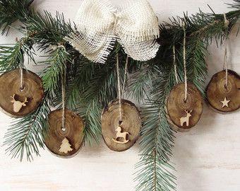 Rustic Christmas ornaments set of Birch slice Christmas decor, Wooden Xmas, Christmas  tree ornament, Organic Xmas decor, Xmas Present