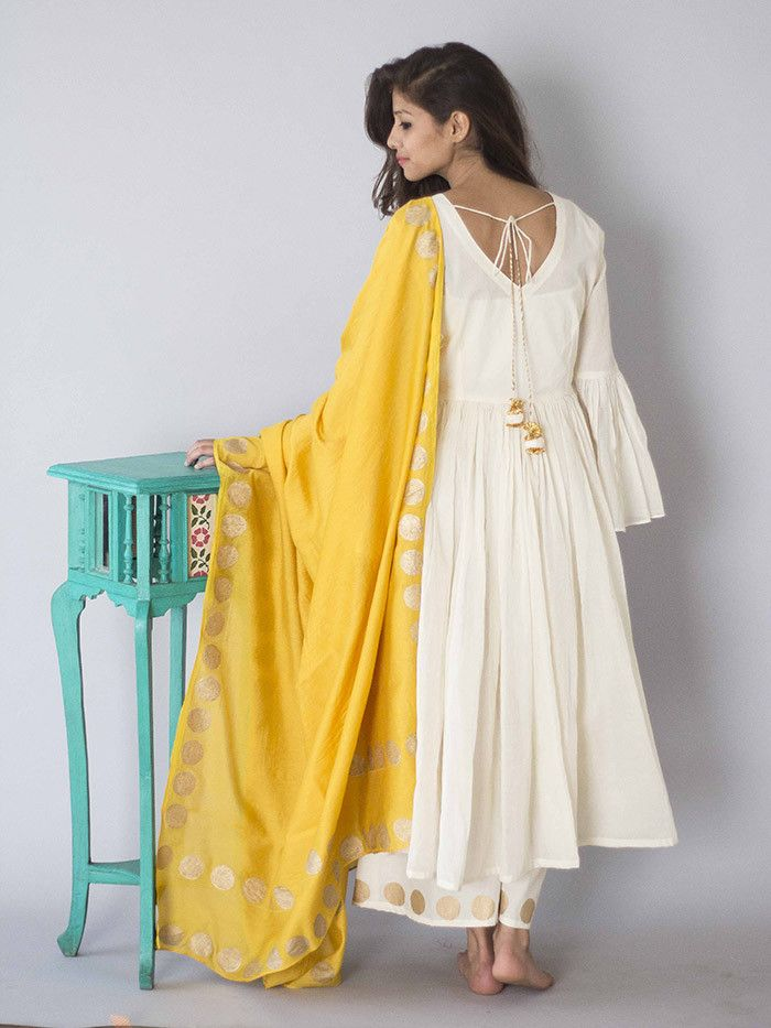 Off White Cotton Anarkali Suit - Set of 3 – The Loom