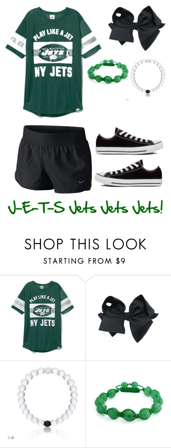 """""""Jets Family Night @ Hofstra University """" by mariahceley ❤ liked on Polyvore featuring NIKE, Bling Jewelry and Converse"""