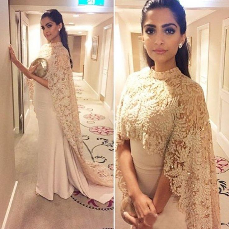 Bollywood Actress Sonam Kapoor Evening Dresses High Neck Lace Beading Long Cape Celebrity Gown Mermaid Arabic Dubai Gowns YY439