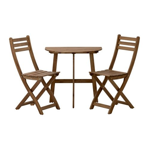 **tables installed against fence off driveway IKEA - ASKHOLMEN, Wall table+2 folding chairs,outdoor