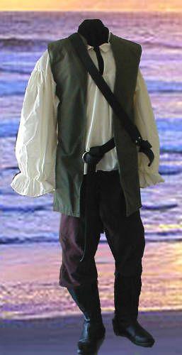 Renaissance Pirate Mens Cotton Tunic Pants Costume Green Brown s M L XL XXL | eBay