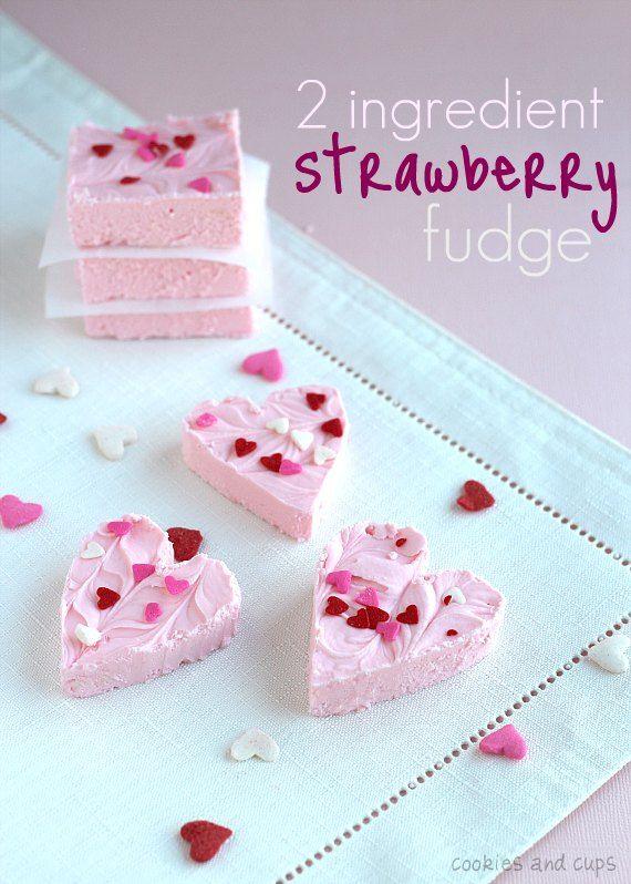 two ingredient strawberry fudge: Strawberries Fudge, 2 Ingredients, Fudge Recipes, Valentines Day, White Chocolates Chips, Valentines Treats, Bags, Ingredients Strawberries, Strawberries Frostings