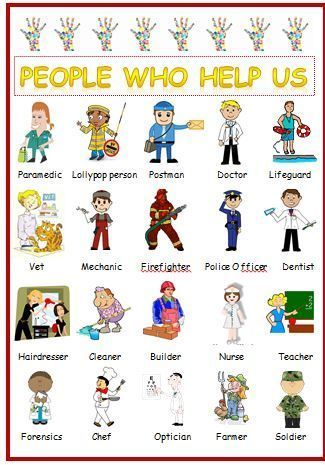 PEOPLE WHO HELP US -DISPLAY - A4 POSTER LAMINATED FIRST LEARNING CHILDMINDER | eBay