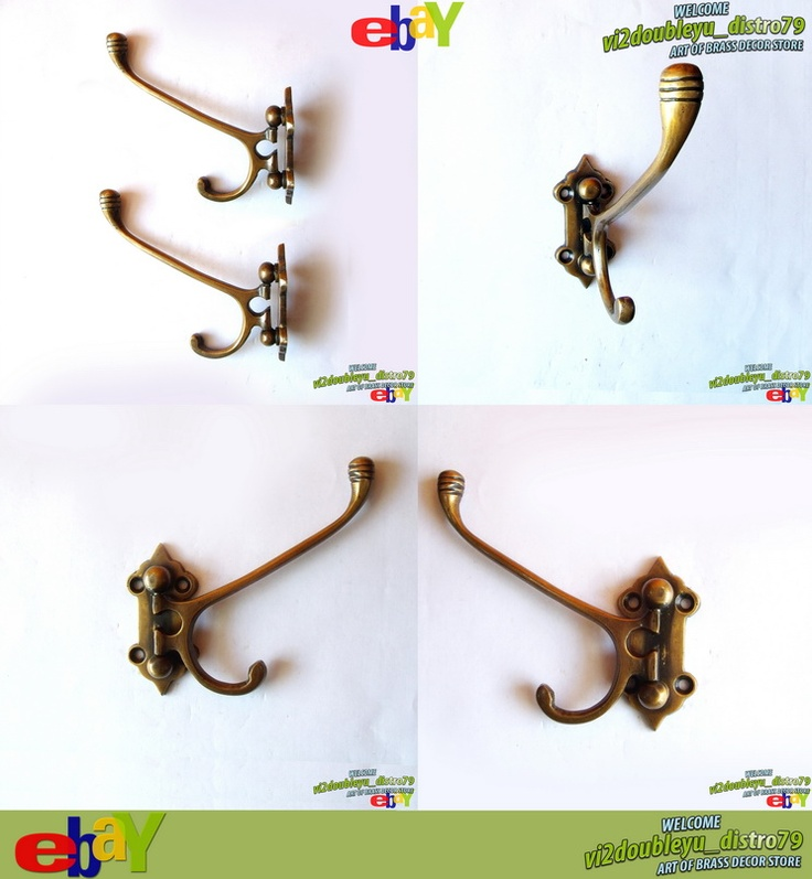 2 PCS Antique Vtg HOOK BRASS Classic 2 HANGERS FOLDING WALL Coat Hat HOOK, Lovely and GREAT GIFT for your Cabinet or home decor. #flyer #Hook #Brass #Antique #Vintage #Home_decor