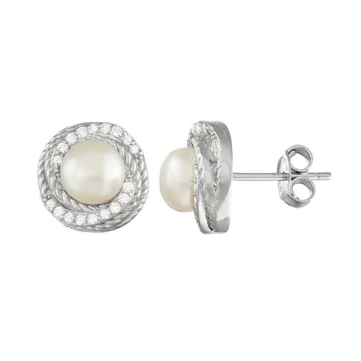 Sterling Silver Freshwater Cultured Pearl & Cubic Zirconia Swirl Stud Earrings, Women's, White