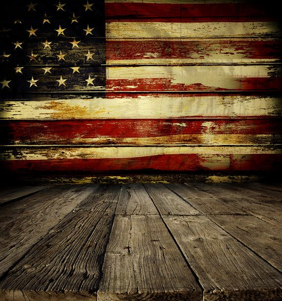 Rustic American Flag Backdrop - patriotic, 4th of July, flag wood wall - Printed Fabric Photography Background G0974