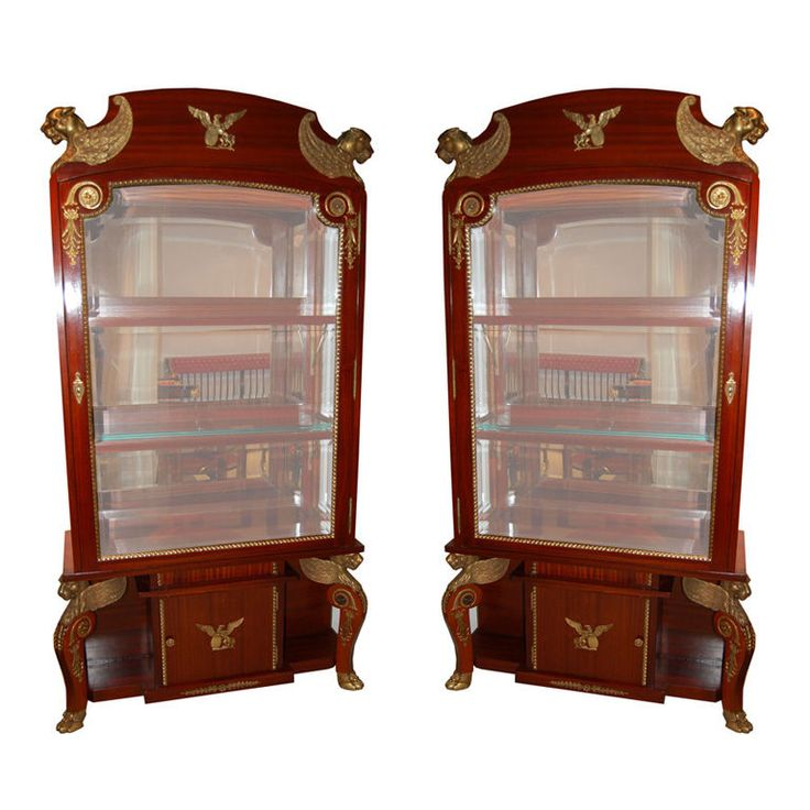A Pair of Empire Revival Vitrines | From a unique collection of antique and modern vitrines at https://www.1stdibs.com/furniture/storage-case-pieces/vitrines/
