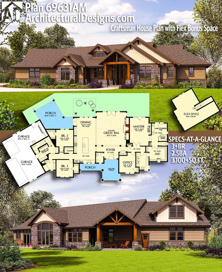 Architectural Designs Craftsman House Plan 69631AM gives