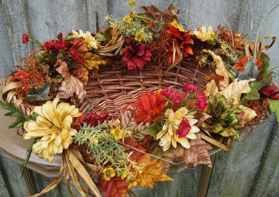 SALE Fall Wreath Autumn Centerpiece Fall von NewEnglandWreath