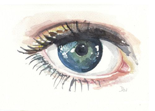 thinking of watercolour and eyes