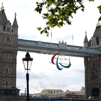 Paralympic logo on Tower Bridge