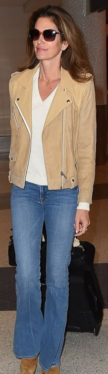 Who made Cindy Crawford's tan suede jacket?