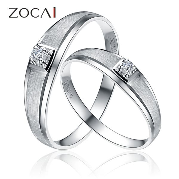 PAIR ZOCAI PRETTY 0.053 CT CERTIFIED H / SI DIAMOND HIS AND HERS WEDDING BAND RINGS SETS ROUND CUT 18K WHITE GOLD