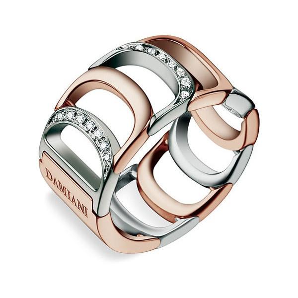 Damiani 'Damianissima' Diamond Ring in Rose and white gold