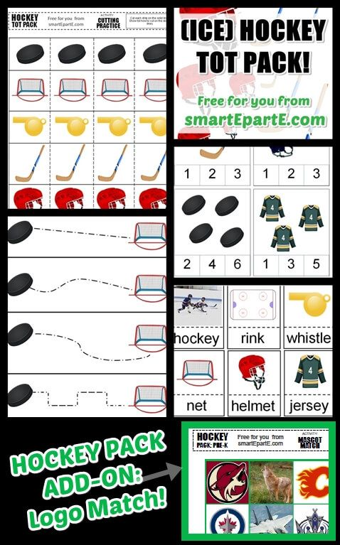Check out our free ice hockey tot pack! Enjoy 13 awesome ice hockey themed activities for your homeschool preschool hockey or sports theme!